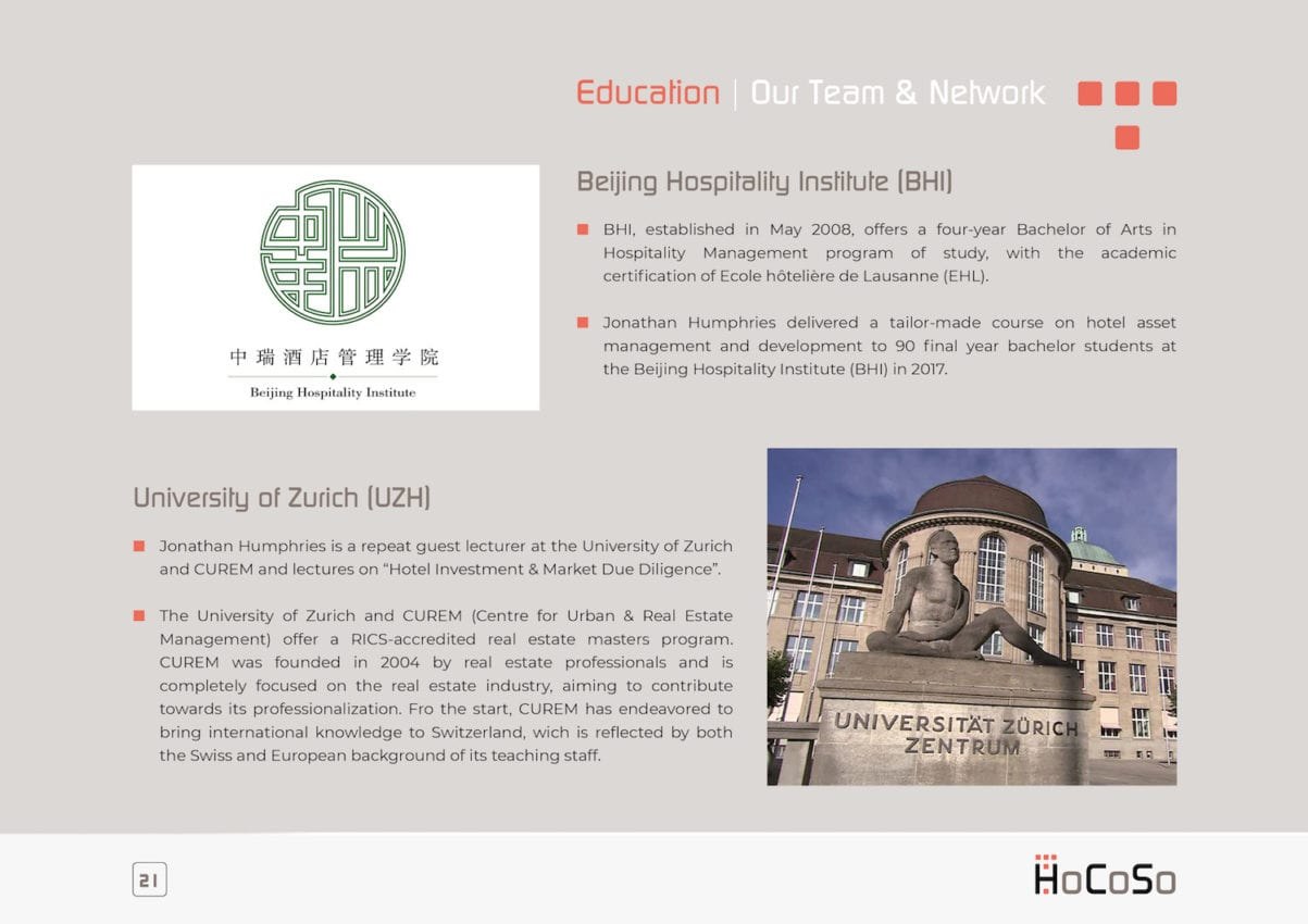 HOSPITALITY CONSULTANT Hocoso Brochure Education
